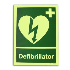 Langnachleuchtendes AED Hinweisschild 15x20 cm