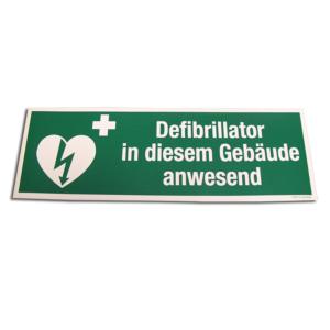 """Sticker """"Defibrillator in diesem Gebäude anwesend"""""""